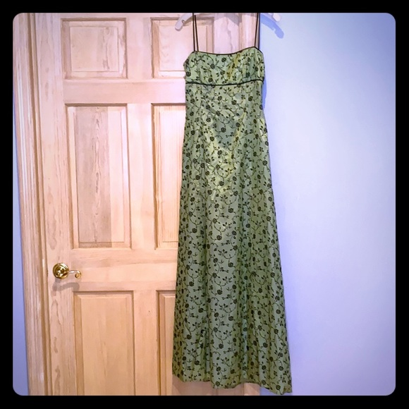 Macy's Dresses & Skirts - Green w/black floral design junior's evening gown